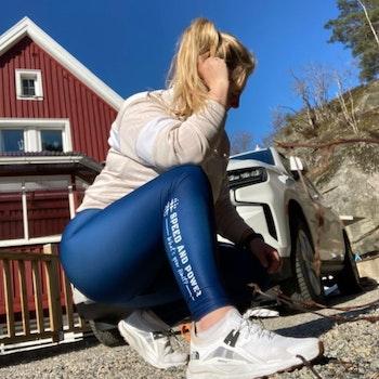 Speed and Power kompression leggings marinblå