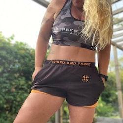Speed and Power shorts svart/organe premium