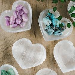 Vit Selenit, hjärtformad skål