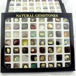 Presentask med 56 olika stenar