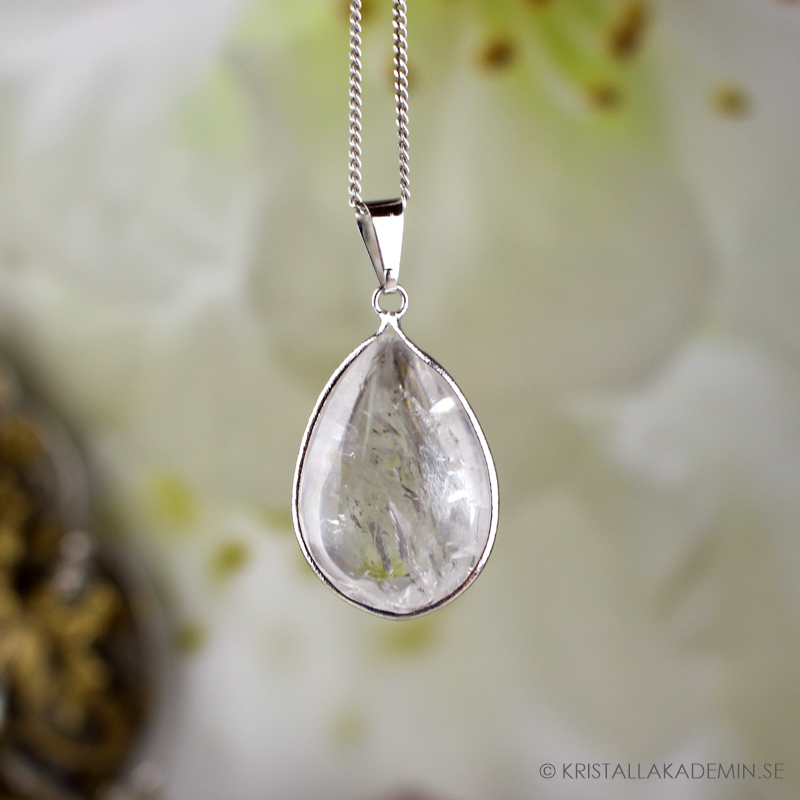 Bergkristall, droppformat hänge med tråd
