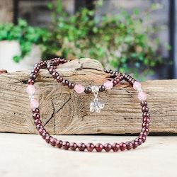 Granat och Rosenkvarts, armband/halsband 5 mm