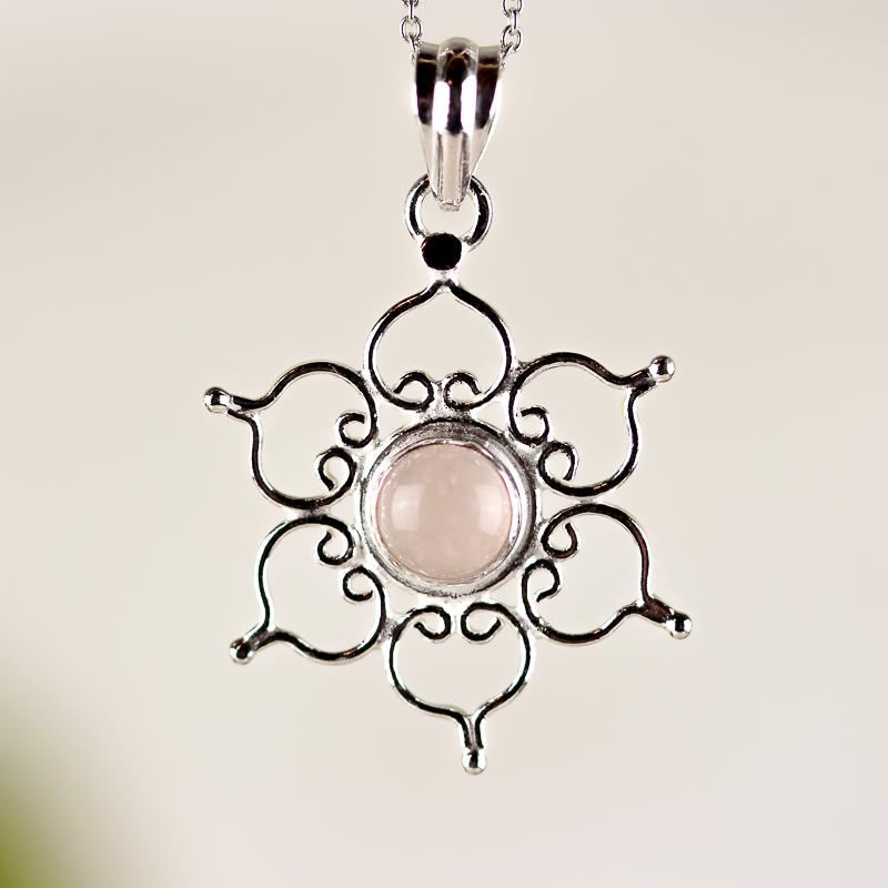 Rosenkvarts, mandala silverhänge