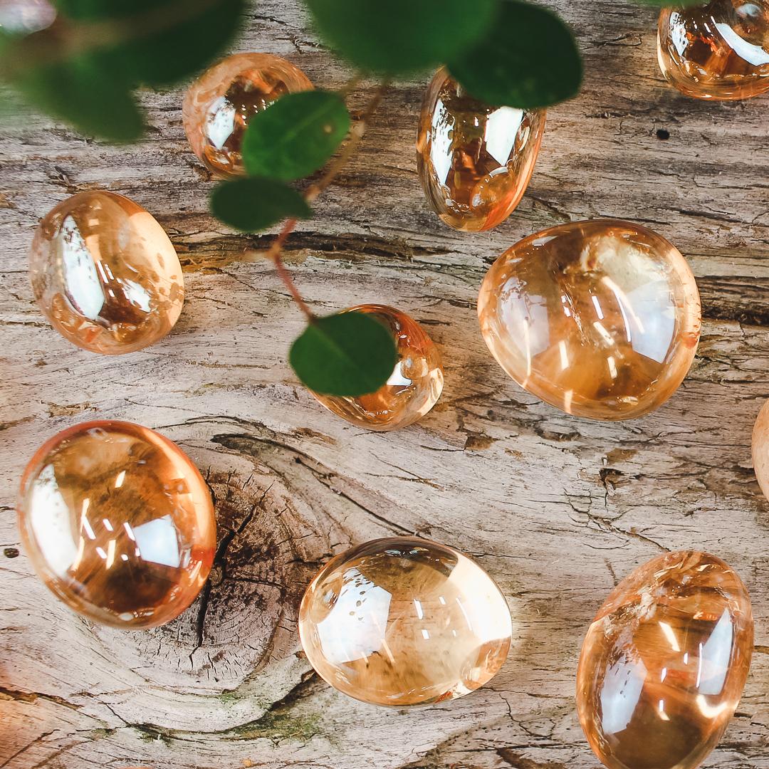 Tangerine Aura Kvarts, trumlade stenar
