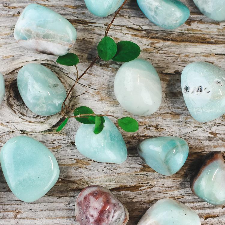 Blå Aragonit, trumlade stenar