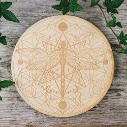 Träplatta med trollslända och livets blomma