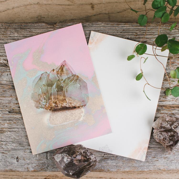 Kort med abstrakta kristaller