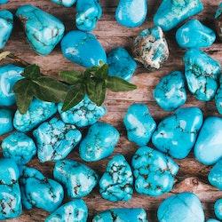 Blå Magnesit, trumlade stenar