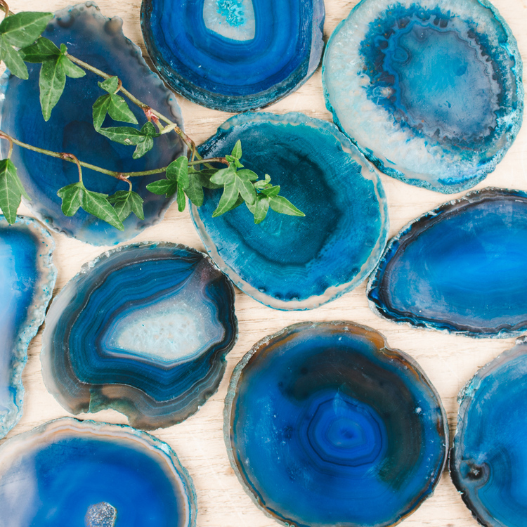 Agat, blå skivor