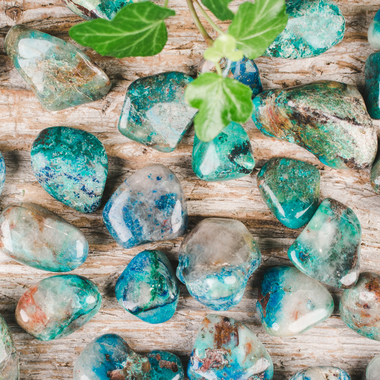 Krysokolla B, trumlade stenar