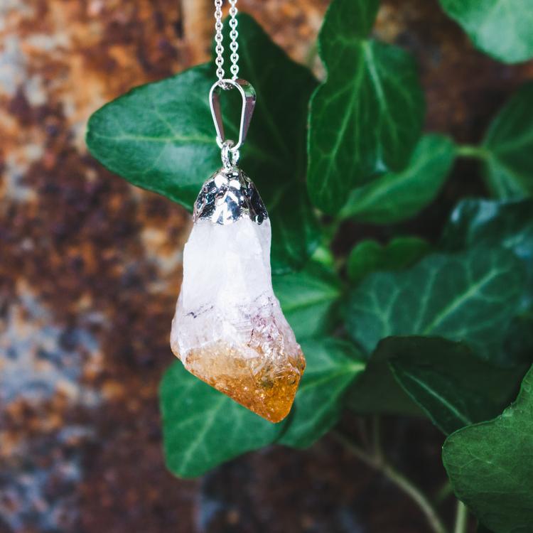Citrin, hänge med naturlig kristall