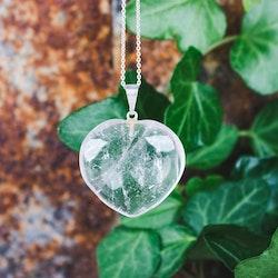 Bergkristall, hjärtformat hänge