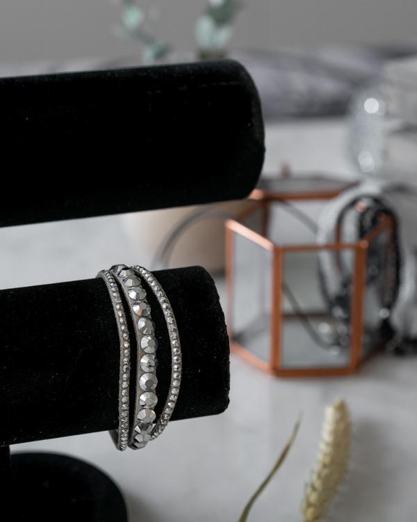 Armband grå/strass