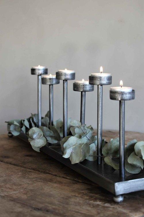 Majas ljushållare 6 ljus cozy antik silver