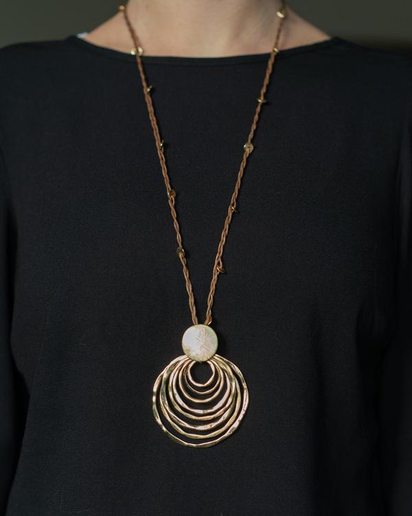 Halsband Långt brun/guld