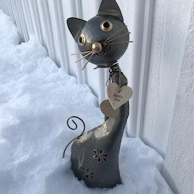 Katt Bästa Vän i hamrad Plåt