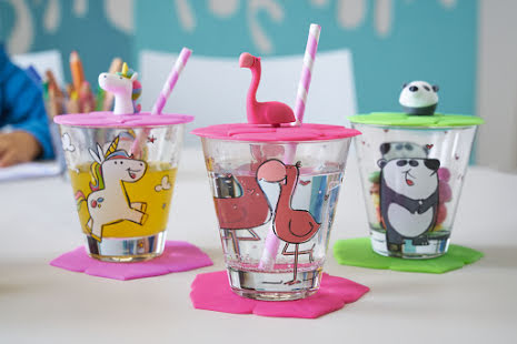 Bambini Set/9 delar - Glas, lock, underlägg