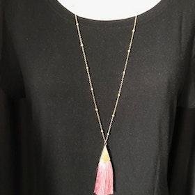 Halsband Långt med rosa tofs