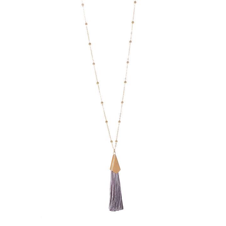 Halsband Långt med silver/lila tofs