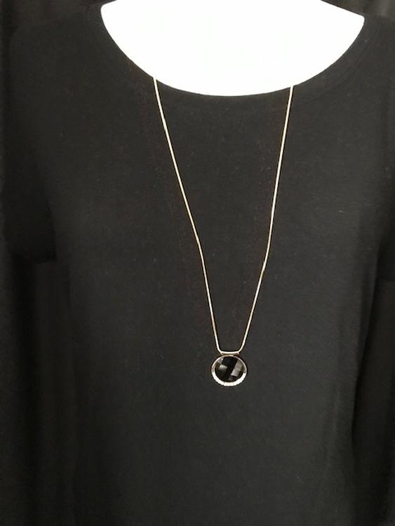 Halsband svart/guld långt