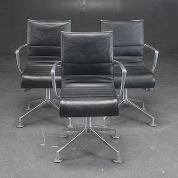 Stol, Alias 437 Meetingframe - Svart skinn
