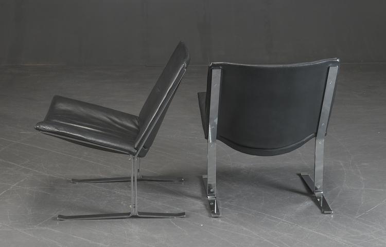 Vintage fåtöljer i svart skinn - 1970-tal