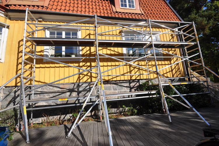 Smal byggställning - 6,2 x 5-10 meter
