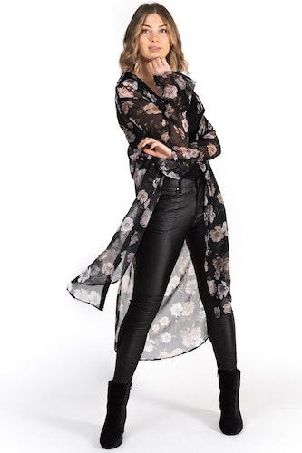 Amina Long Shirt Black/Sandstone/Creme