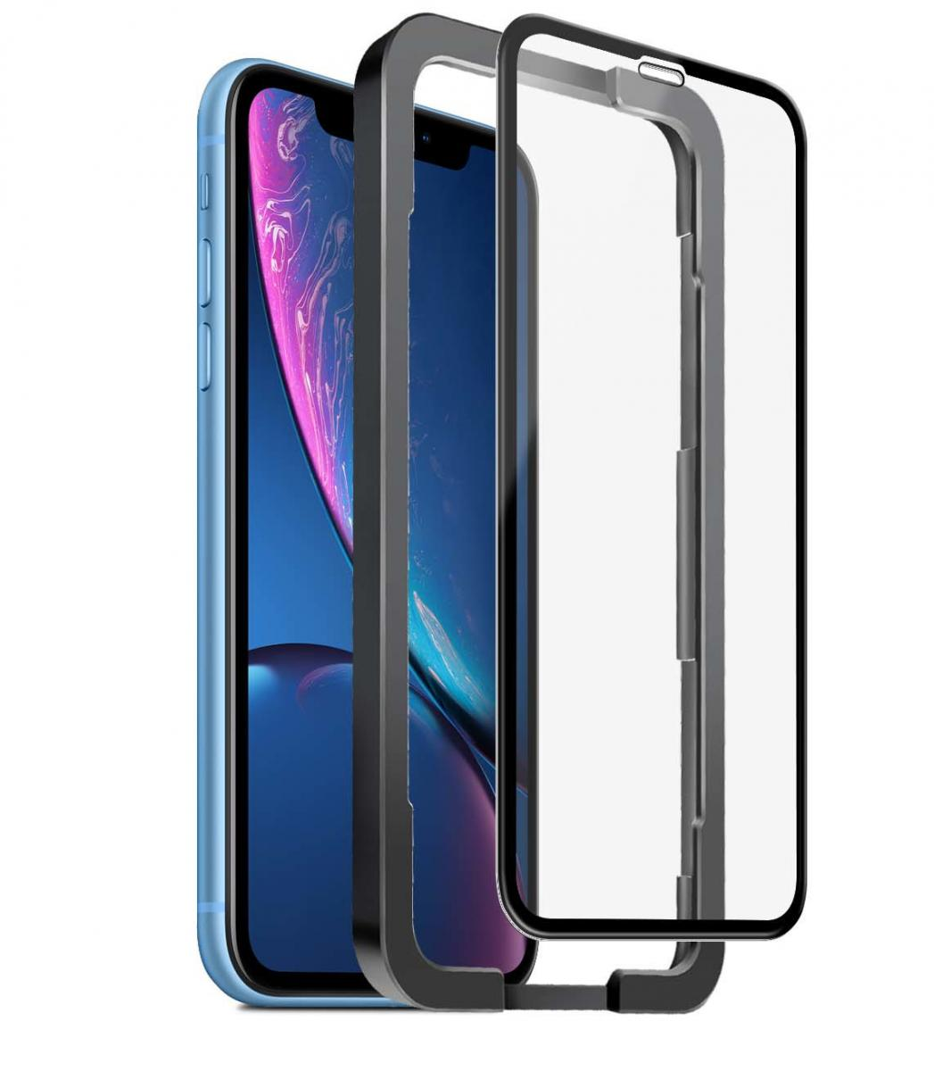SiGN Heltäckande Skärmskydd i Härdat Glas för iPhone 11 & XR + Monteringsram
