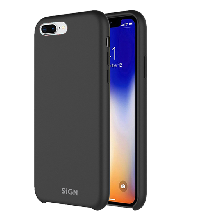 SiGN Liquid Silicone Case för iPhone 7 & 8 Plus - Svart