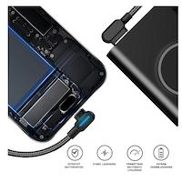 SiGN Vinklad USB-C kabel med LED-indikator 1m - Svart