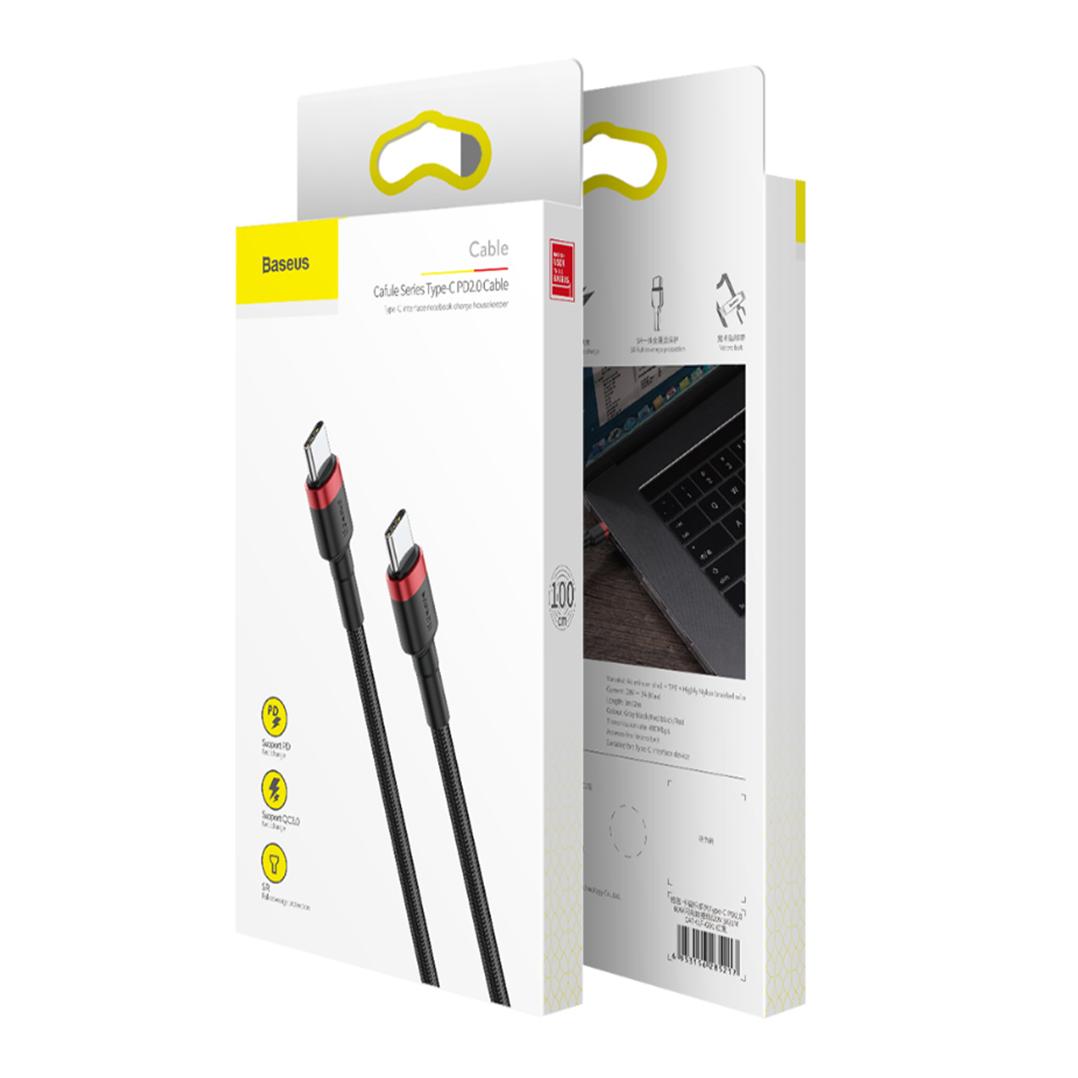 Baseus Cafule USB-C till USB-C, QC 3.0, USB-C PD, 3A 1 m - Grå/Svart
