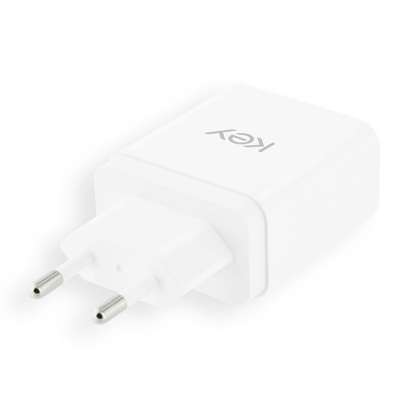 Key USB-C Adapter with Cable 5V/3.0A/18W - White