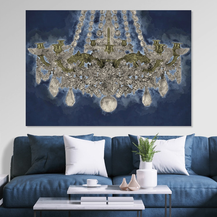 Blue Chandelier Canvas