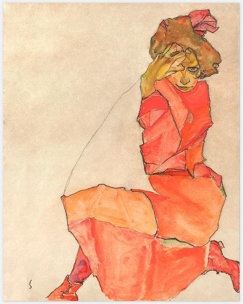 Kneeling Female in Orange-Red Dress