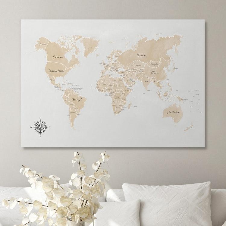 World Map in beige Canvas
