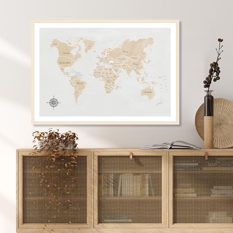 World Map beige