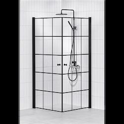 Alterna Lusso duschhörna 90x90 cm Svart inklusive Monterat & Klart