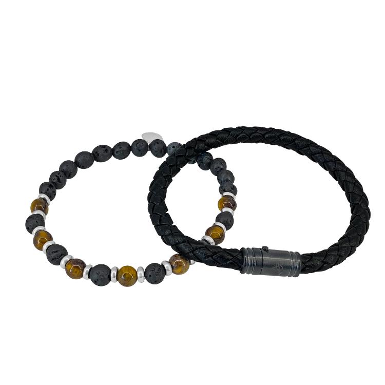 Presenttips armbandset i svart och brunt från By Billgren.