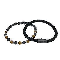 BY BILLGREN - Armbandset svart & brun, 21cm