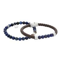 BY BILLGREN - Armbandset brunt & blått, storlek 19cm