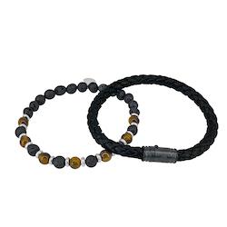 BY BILLGREN - Armbandset svart & brun, 19cm