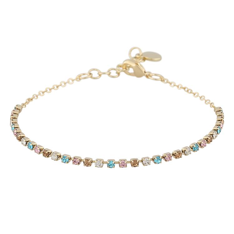 Presenttips Lindsey armband i guld och rosa från Snö of Sweden.