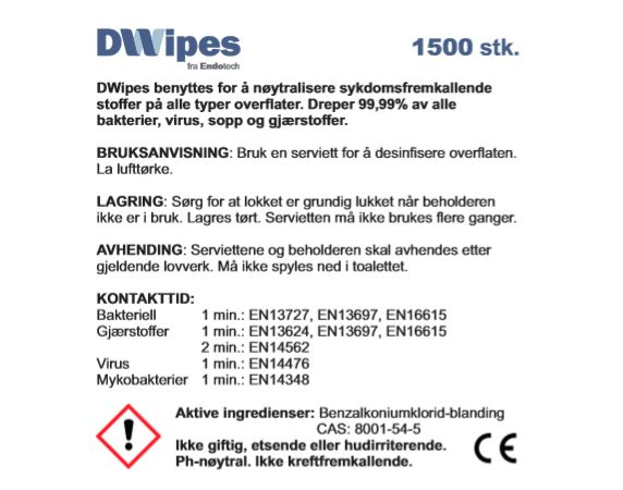 DWipes 1500 - desinfiserende våtservietter 1500 stk.