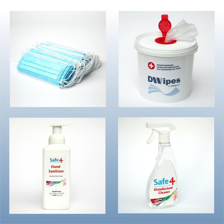Pakketilbud. Alt du trenger av smittevernprodukter. Munnbind, wipes, hånd-desinfeksjon og overflate-desinfeksjon. Spar frakt og kr 200.