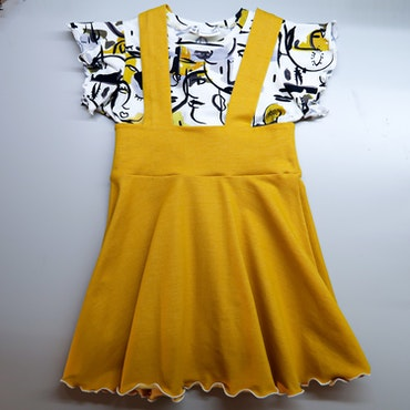Yellow faces Kort kjole - Str. 7-8 år