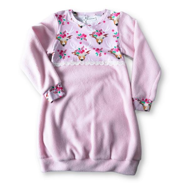 Rosa hjort 7-8 år - Fleecetunika