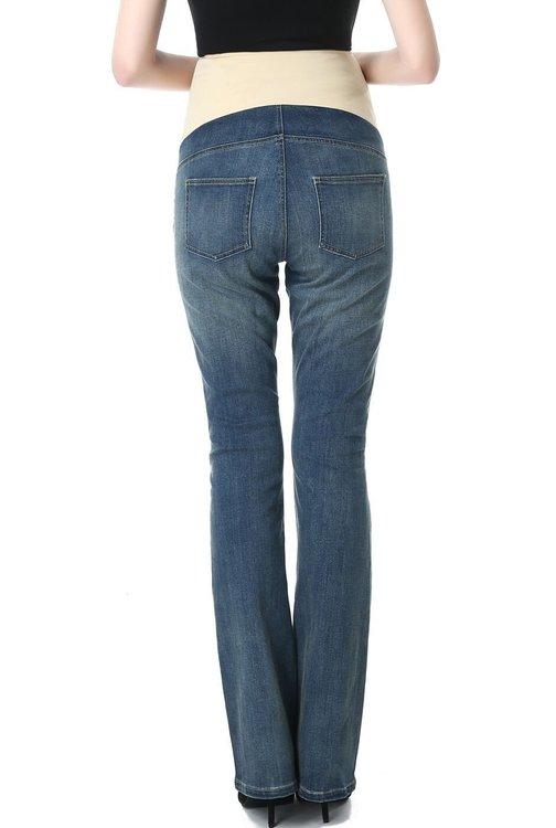 Denim jeans med boot cut ben och mudd över magen bakifrån