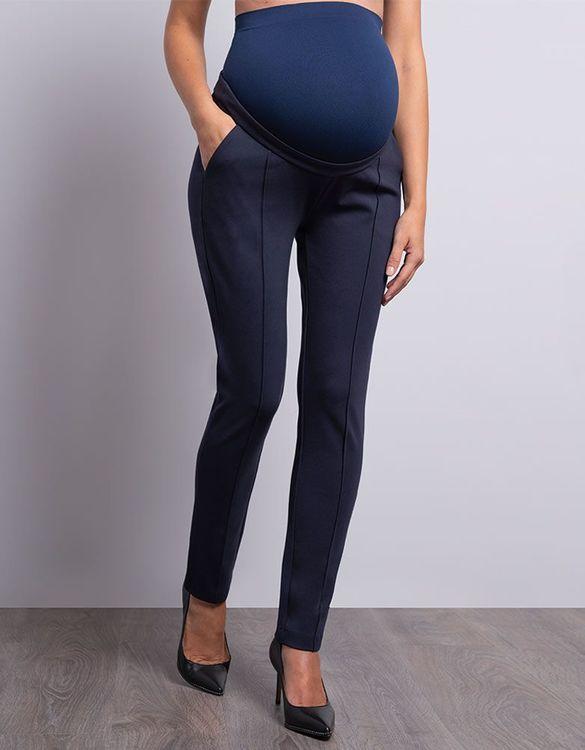 Marin blå gravidbyxa som passar till gravidkostym framifrån zoomat