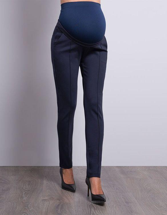 Marin blå gravidbyxa som passar till gravidkostym framifrån